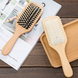 Wholesale Chinese Hair Brush - Chinese Cherry Hair Brush Wooden Paddle Detangling Massage Eco Friendly Wood Hair Brush in 2 colors white and black