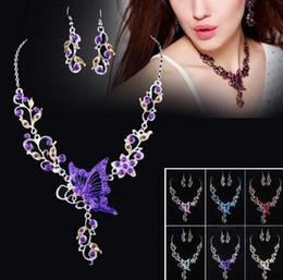 Wholesale Pink Crystal Bib - Bride's Butterfly Flower Rhinestone Pendant Bib Statement Necklace Earrings Jewelry Set 0258