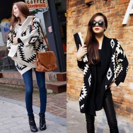 Женщины aztec кардиган онлайн-Wholesale-Details about 2015 Women Aztec Oversized Open Front Loose Knit Sweater Cape Cardigan Coat New