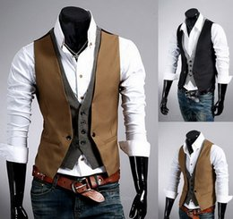 Wholesale Casual Vest Suits - 2016 new men slim fit suit vest fashion Stitching casual waistcoat autumn winter mens dress vests 2 color M-2XL A060