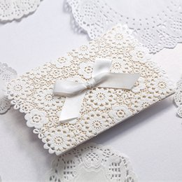 Wholesale Elegant Invitation Paper - Wholesale- White lace designed bow elegant wedding invitation card blank printable inner paper 50pcs lot