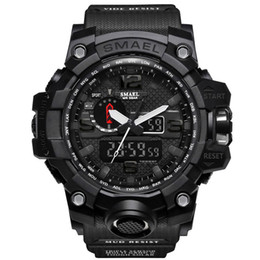Wholesale Cool Military Watches - SMAEL Digital Watch Men Sport Super Cool Men's Quartz Sports Watches Brand Luxury Brands LED Military Waterproof Wristwatch Male Drop Shippi