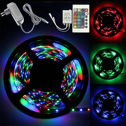 Wholesale Light Powered Items - Hot sell festival items Christmas 5M 3528 RGB 300 Led SMD Flexible Light Strip+24 key IR+12V 2A Power Supply