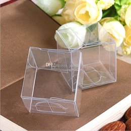 Wholesale Square Wedding Cake Boxes - 100pcs lot 4x4x4 CM PVC Clear Package Box Square Plastic Containers Jewelry Gift Box Candy Towel Cake Box Free Shipping