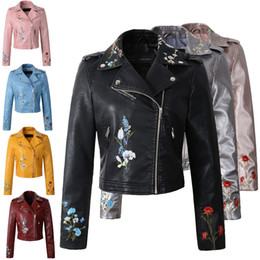 leather jackets silver women Promo Codes - Wholesale- Women faux leather jacket embroidery Biker Jackets Aviator coat new Short motorcycle Coats with Belt Female S-XL Jaqueta couro