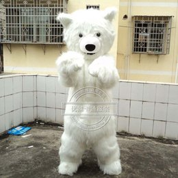 Wholesale Polar Bear Outfits - Long hair white bear the polar bear Mascot Costume Fancy Dress Adult Party Event Outfit A3