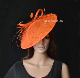 Wholesale Large Feather Headbands - Orange pink fuchsia large saucer Sinamay Fascinator hat for kentucky Derby.