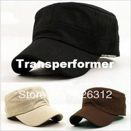 Wholesale Army Service Cap - Wholesale Korean style New Fashion Men Women Ladies Boy Unisex Flat Hat Army Cap Service Cap Baseball leisure Cap Sun Hat RJ1725