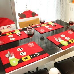 Wholesale Christmas Placemats Wholesale - Wholesale- 2016 4 pcs lot Xmas New Year Placemats & Runner Placemat and Cutlery Suit Flannelette Christmas Table Decorations for Dinner