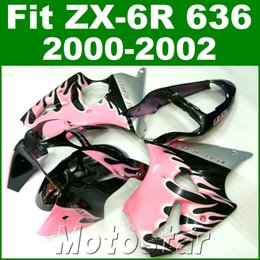 Wholesale Motorcycle Plastic Pink - Motorcycle fairings for kawasaki ZX6R 636 00 01 02 plastic fairing kit ZX636 ZX-6R 2000 2001 2002 pink black bodywork JK44
