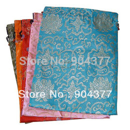Wholesale Silk Gift Pouches Large - Luxury Extra Large Silk brocade Drawstring Gift Bags Reusable Packaging Pouch 14.5 x 11 inch 10pcs lot mix color Free shipping