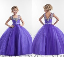 Wholesale Pagent Girl Dresses - Purple Flower Girl Dresses Square Neckline Sparkly Crystals Beaded Tulle Floor Length Open Back Birthday Party Dress Pagent Dress Ball Gown