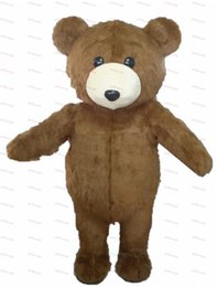 Wholesale Teddy Bear Mascot Suit - Lovely Long Hair Plush Brown Teddy Bear Mascot Costume Adult Size Teddy Bear Mascotte Suit Fit Fancy Dress Free Ship