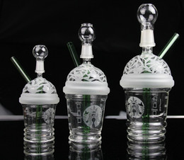 Wholesale Nail Cups - New Starbuck Cup Original Opaque Bright green dab concentrate oil rig glass bong glass dome and nail Hookah glass water pipe