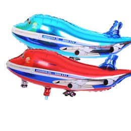 Wholesale Helicopter Party Decorations - Wholesale-10pcs lot 85*40cm balloon helicopter inflatable toys child foil helium plane balloons party decoration big airliner balloons