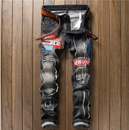 Wholesale Play Straight - Explosions men's straight non-playing badge embroidery denim pants male folds, grinding white, old, embroidery white folds