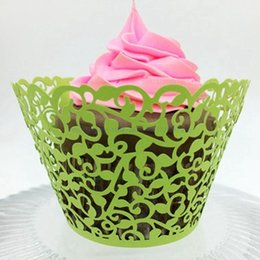 Wholesale Cupcake Liners Wholesale Pink - Laser Cut Color Cupcake Wrappers Pretty Cake Cup Paper Wraper Liner Birthday Party Cake Decoration HOT SD825