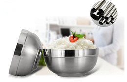 Wholesale Double Layer Bowl - on sale 304 stainless steel bowl platinum rice meal bowls double layer scald-proof kitchen hotel use