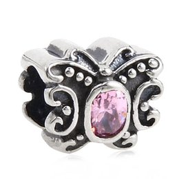 Wholesale Pandora Ale Authentic - 100% Authentic 925 ALE Sterling Silver Sparking Butterfly charm Bead with Zirconia Fits European Style Pandora Jewelry Charm Bracelets