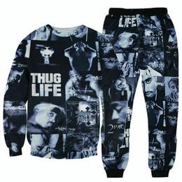 Wholesale Sportswear Men Plus Size - 3D Hoodies hip hop suits tracksuits Tupac 2pac tracksuits harajuku hoodie & joggers pants 3d sportswear suits tracksuit plus size