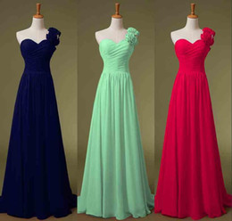 Wholesale One Piece Bridal Gown - 2016 One Shoulder Chiffon Evening Bridesmaid Dresses Green Navy Blue Lime Lilac Handmade Flowers Long Bridal Prom Party Prom Gowns In Stock