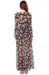 Wholesale Sexy Party Dresses Xs - 2015 dresses for women casual beach dress bohemian flora printed split dresses deep v neck maxi dress women sexy dress party dress