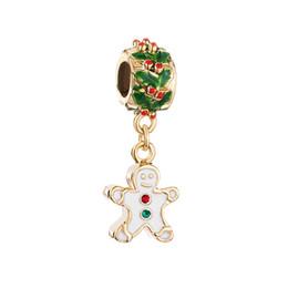 Wholesale Men Pandora Bracelet - Christmas Gingerbread Man Cookie dangle metal slide bead European spacer charm fit Pandora Chamilia Biagi charm bracelet
