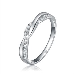 Wholesale Heart Wedding - ORSA New Arrival 925 Silver Infinity Ring with Shiny Austrian Zircon Crystal Women Wedding Ring OR44