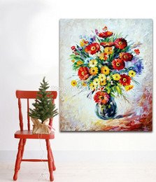 Wholesale Canvas Painting Vases - Palette Knife Painting Magic Bouquet in Vase Sunflowers Wall Art Decor Picture Printed On Canvas Picture For Office Home