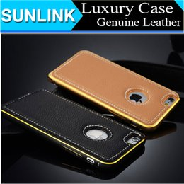 Wholesale Real Bumper - Super Real Leather Back Case Cover for iPhone6 Leather + Metal Bumper Cases for iPhone 6 4.7 Plus 5.5 Inch 5 5S