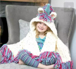 Wholesale Kids Hooded Blankets - Baby Unicorn Cloak Blankets Hooded Hat Knitted Tassel Cartoon Swaddling Kids Sofa Soft Bedding Warm Blanket 50Pcs