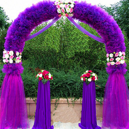 Wholesale Purple Christmas Wreath - Wedding Arch Wedding Decorations Props Way Garden Quin 2.5m*2.5m Eanera Party Flowers Balloon Decoration White Metal Spend Circular Arch Doo