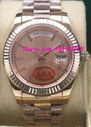 Wholesale Watches Stripes - Luxury Watches 2017 New Rose Gold 40mm 228235 Stripe Dial Automatic Fashion Brand Men's Watch Wristwatch