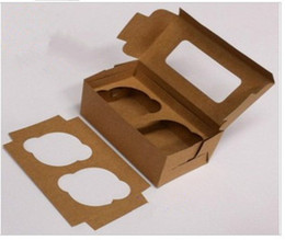Wholesale Cupcake Boxes Kraft Paper - Free Shipping 50pcs lot kraft paper material contain 2 Cupcakes Muffin Packing box cup cake Baking case TOP18