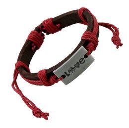 Wholesale Love Peace Charms - NEW leather bracelet women's bracelets love peace design 2017 cool jewelry adjustable cuff men's wristband bangle cuff