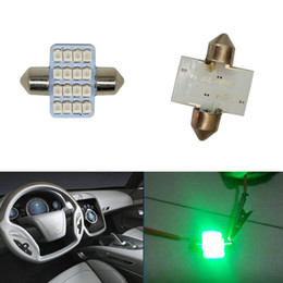 Wholesale Led Lighting For Car Interior - 100pcs Green 31mm 16-SMD-1210 DE3175 LED Lighting for Car Interior Dome Map Lamp Bulbs DIY CASE