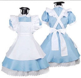 Wholesale fantasy halloween - Japanese Best-Selling Fancy Girls Alice In Wonderland Fantasy Blue Light Tone Lolita Maid Outfit Maid Costume Maid Dress