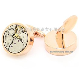 Wholesale Imported Roses - Dongguan high-end custom cufflinks popular clothing imports rose round gold cufflinks precision of gear movement CZ