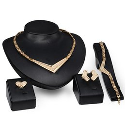 Wholesale Cheap Diamond Shaped Earrings - New Fashion 4PC Female Cheap Jewelry Sets Heart-Shaped Created Diamond African Jewelry Set Necklace&Earring&Bracelet&Ring