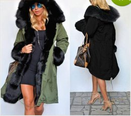 Wholesale Women Down Parka Fur Lined - Wholesale-New Winter Coats Women Jackets Real Large Raccoon Fur Collar Thick Cotton Padded Lining Ladies Down & Parkas Plus Size S-2XL