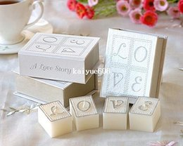 Wholesale Candles Wax Wedding Favors - 6books=24pcscandles lot,smokeless scented creative LOVE book candle wax as valentine's day&wedding personalized favors and gifts
