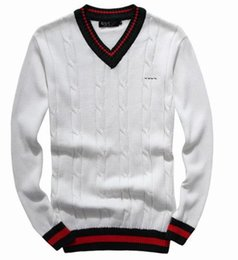 Wholesale Red Cashmere Sweaters - 2018 new high quality Red green stripe Men's Sweaters mile wile polo brand men's twist sweater knit cotton sweater jumper pullover sweater
