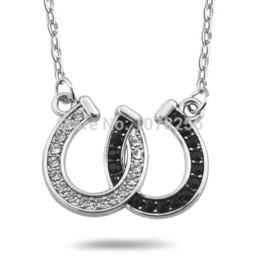 Wholesale Wholesale Rhinestone Horseshoe Charms - 30pcs lot zinc alloy rhodium plated double horseshoe white and black crystals pendant necklace women
