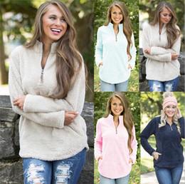 Wholesale Oversized Winter Sweater - Sherpa Pullover Women Winter Fall Fleece Hoodie Sweatshirt Oversized V-Neck Zipper Sweaters Long Sleeve Tops 4 Colors 10pcs OOA3819