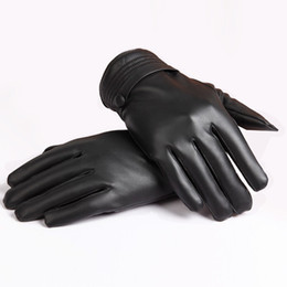 Wholesale Leather Cashmere Touch Screen Gloves - Wholesale-2015 Vosicar Hot SaleMens Luxurious PU Leather Touch Screen Winter Black Warm Gloves Mitten Cashmere Freeshipping & Wholesale