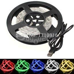Wholesale Smd 3528 Led Strip Multicolor - Overvalue Multicolor 50cm 100cm 200cm 5050 3528 SMD 15 60 LED Flexible Strip Light TV Background Lighting Kit USB Cable 5V