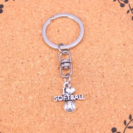 Wholesale Gift Souvenir Keychain - New Arrival Novelty Souvenir Metal I love softball Key Chains Creative Gifts Apple Keychain Key Ring Trinket Car Key Ring