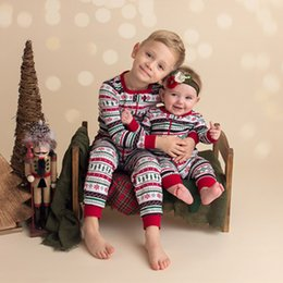 Wholesale Winter Pjs - Children Christmas Family Romper Brother Clothing Suit Toddler Boy Girl Long Sleeves Stripe PJS Infant Outfits