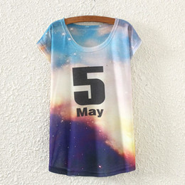 Wholesale Tee Shirt Triangle Galaxy - Harajuku 2015 New Fashion Women 3D Funny Tops Tees Triangle Galaxy Space Printed T Shirt Short Sleeve Casual Tshirt C1765