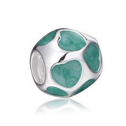 Wholesale Enamel Bead For European - Beautiful Round Turquoise Enamel Beads European Charms Fit For 925 Sterling Silver Snake Chain Bracelet Fashion DIY Jewelry